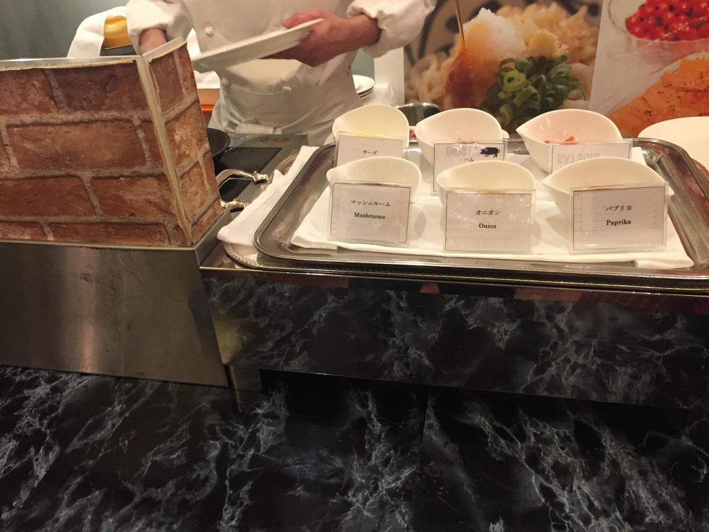 ホテルニューオータニの朝食ブッフェ オムレツ
